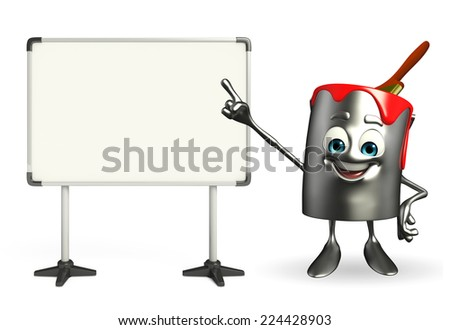 Cartoon Character of paint bucket with display board - stock photo