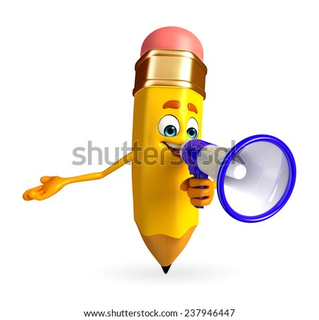 Cartoon Character of pencil with Loudspeaker - stock photo