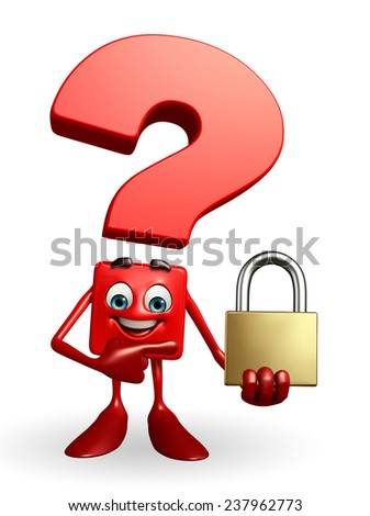 Cartoon Character of Question Mark with lock - stock photo