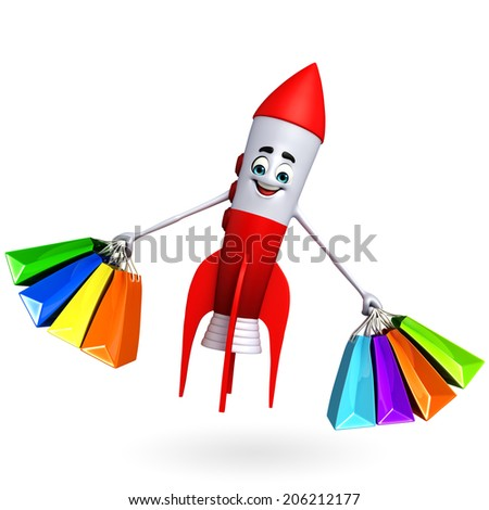 Cartoon character of rocket with shopping bags - stock photo