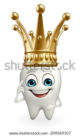 Cartoon character of teeth with crown  - stock photo