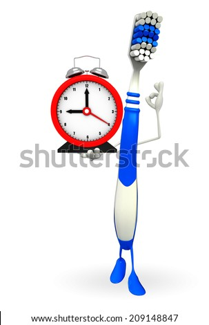 Cartoon Character of toothbrush with table clock - stock photo