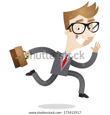 Cartoon character: Smiling businessman with briefcase running to work (Vector version also available in my gallery). - stock photo