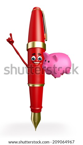 Cartoon Chatacter of Pen with piggy bank - stock photo
