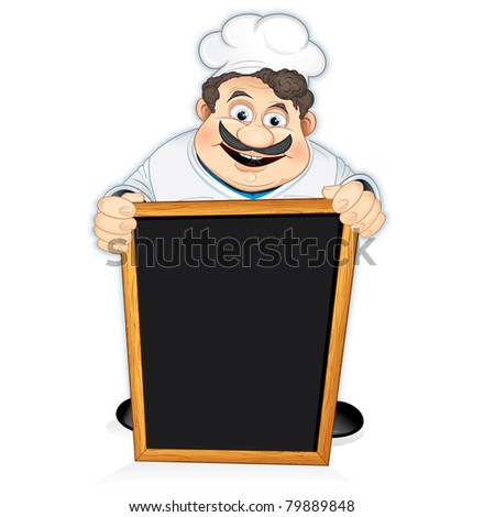 Cartoon Chef Cook with blank wooden menu board - stock photo