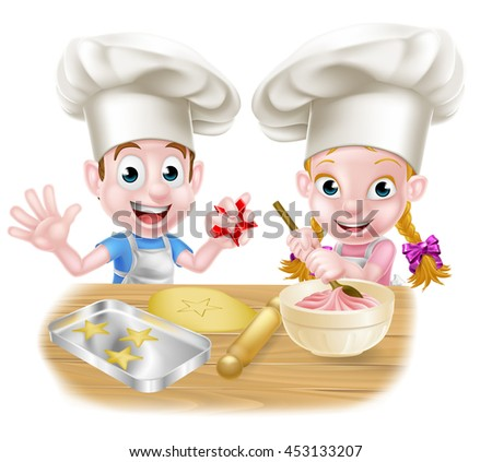 Cartoon chef kids baking cakes and cookies - stock photo