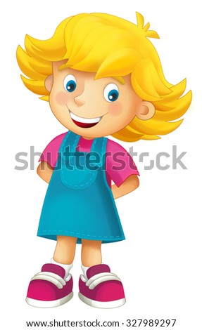 Cartoon child - happy girl - illustration for the children - stock photo
