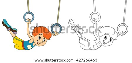 Cartoon child training - with coloring page - isolated - illustration for the children - stock photo