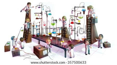 Cartoon children scientists studying chemistry, working and experimenting in massive chemical tower refinery laboratory with complicate test tube beaker and science tool in isolated background - stock photo