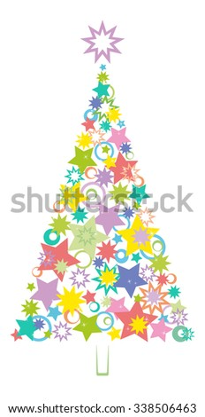 Cartoon Christmas Holiday Tree Made of Multicolored Stars and Rings Silhouettes on White Background.  - stock photo