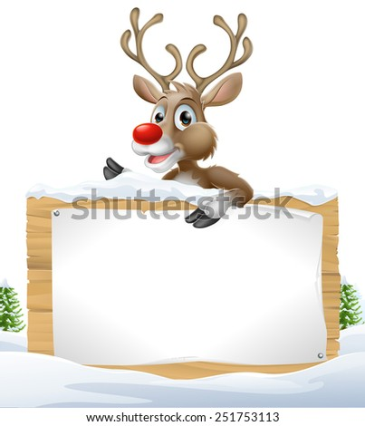 Cartoon Christmas Reindeer Sign of one of Santa�¢??s cute red nosed reindeer leaning over a snowy sign - stock photo