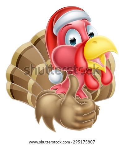 Cartoon Christmas turkey mascot giving a thumbs up and wearing a Christmas Santa hat - stock photo