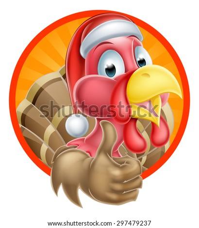 Cartoon Christmas turkey mascot giving a thumbs up and wearing a Santa Claus hat - stock photo