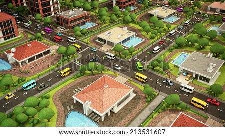Cartoon City Square / Lovely cityscape for comfortable living - stock photo