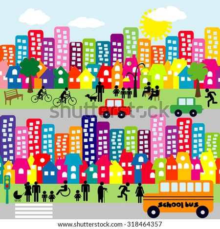 Cartoon city with people pictograms - stock photo