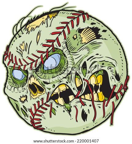 Cartoon clip art illustration of a Zombie Baseball!  - stock photo