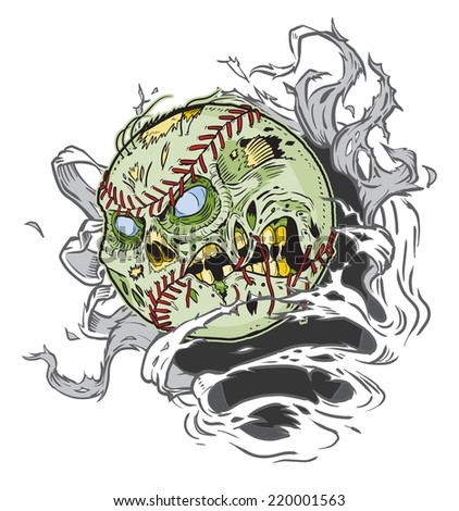 Cartoon clip art illustration of a Zombie Baseball Ripping out of the Background!  - stock photo