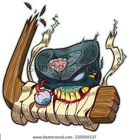 Cartoon clip art illustration of a zombie hockey puck biting a broken hockey stick!  - stock photo