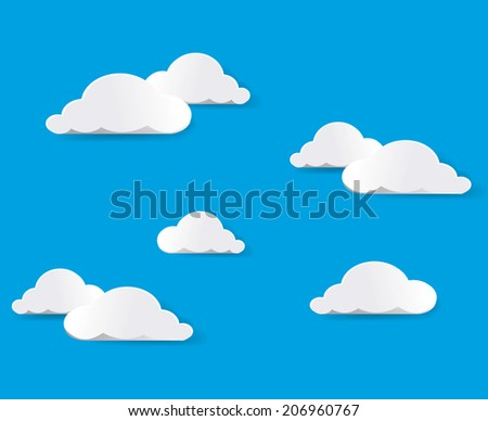 Cartoon clouds. Illustration on blue background for design  - stock photo