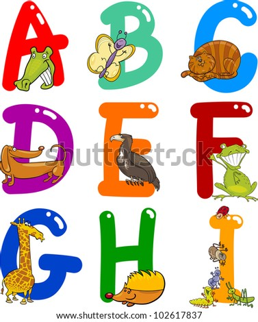 Cartoon Colorful Alphabet Set with Funny Animals - stock photo