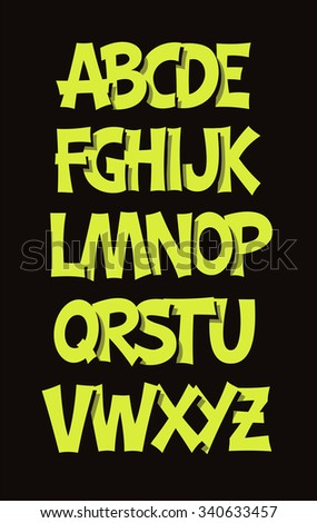 Cartoon comic graffiti font alphabet. Raster version - stock photo