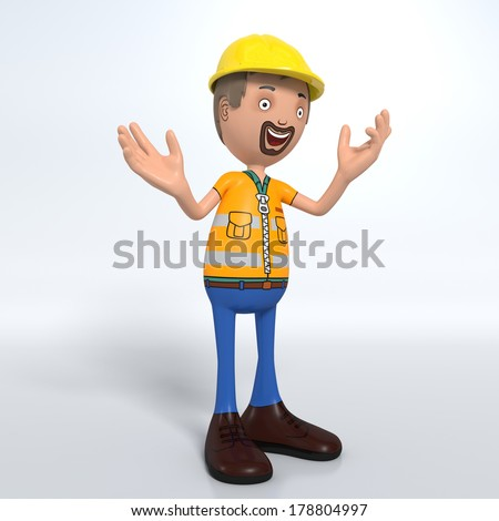 Cartoon construction worker with hard hat happily explaining something - stock photo