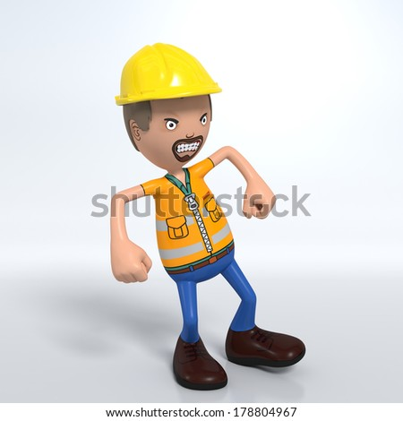Cartoon construction worker with hard hat throwing tantrum and being very angry - stock photo