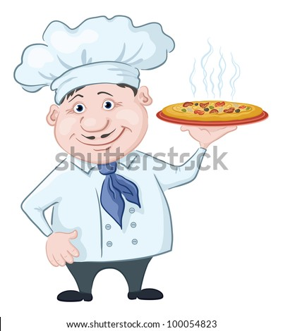 Cartoon cook - chef holds a delicious hot pizza, isolated on white background - stock photo