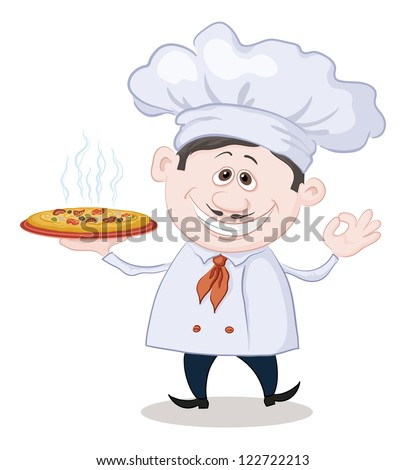 Cartoon cook - chef holds a delicious hot pizza, isolated on white background. - stock photo