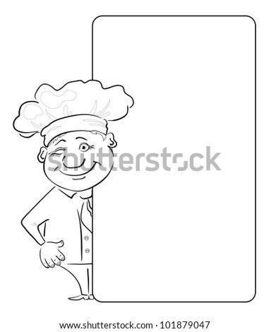 Cartoon cook - chef winking looks out poster, free for your text. Contour - stock photo