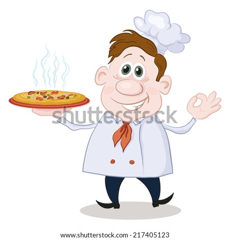 Cartoon cook chef with a hot pizza isolated on white background. - stock photo