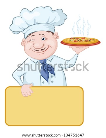 Cartoon cook - chef with delicious hot pizza and poster, free for your text - stock photo
