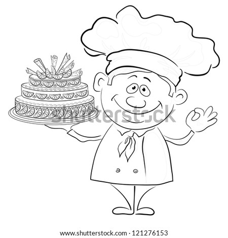 Cartoon cook - chef with sweet holiday cake, black contour on white background. - stock photo