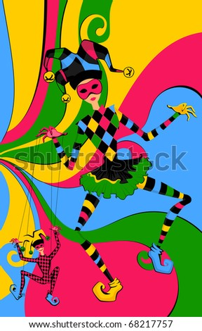 Cartoon court jester holds a marionette - stock photo