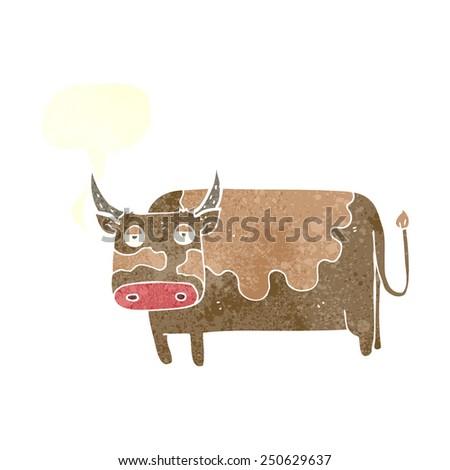cartoon cow with speech bubble - stock photo