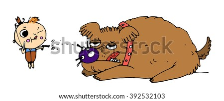 Cartoon cowboy and dog, hand painted illustration isolated on white background - stock photo