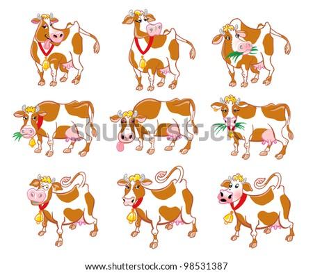 Cartoon cows - stock photo