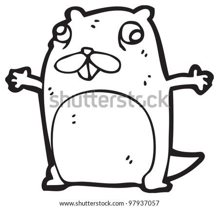 cartoon crazy beaver - stock photo