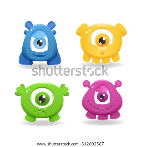 Cartoon cute monsters on white background - stock photo
