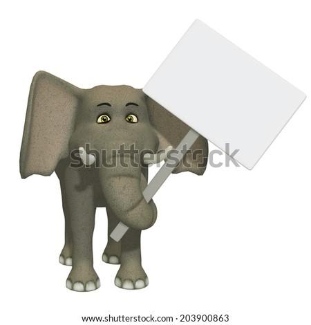 cartoon 3d elephant wizh a blank sign - stock photo