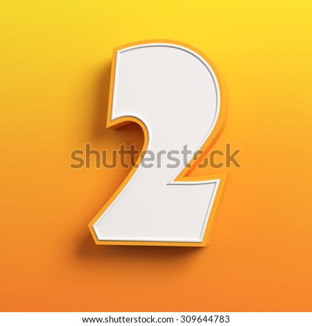 cartoon 3d font letter 2 - stock photo