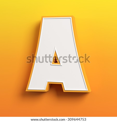 cartoon 3d font letter A - stock photo