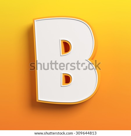 cartoon 3d font letter B - stock photo