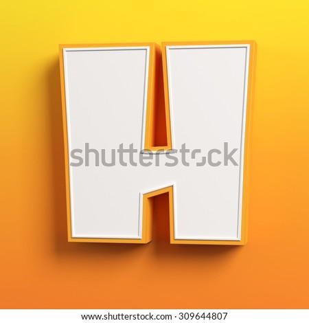 cartoon 3d font letter H - stock photo