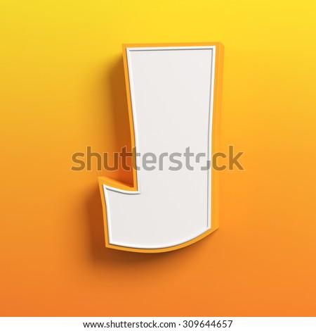 cartoon 3d font letter J - stock photo