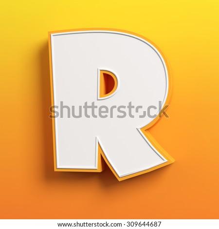 cartoon 3d font letter R - stock photo