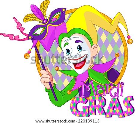 Cartoon design of Mardi Gras Jester holding a mask. Raster version - stock photo