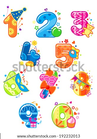 Cartoon digits and numbers with toys for childish mathematics design. Vector version also available in gallery - stock photo