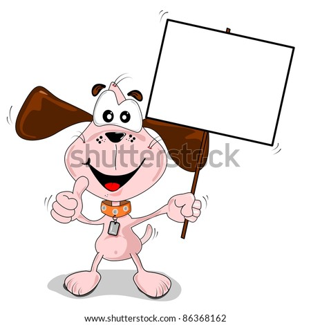 Cartoon dog holding a blank placard sign with copy space - stock photo