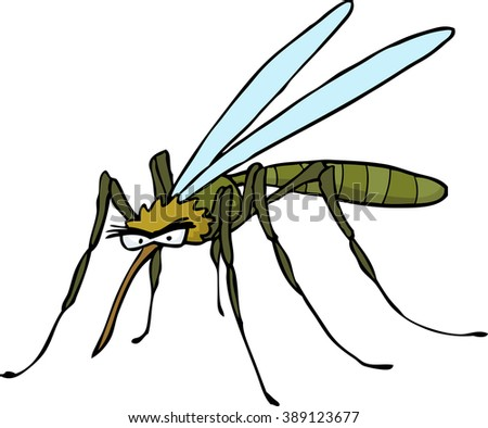 Cartoon doodle mosquito on a white background - stock photo